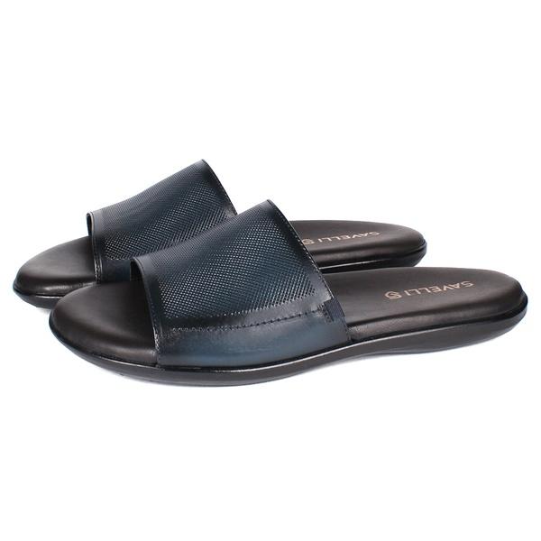 Sandália em Couro Látego Elba Blue Savelli