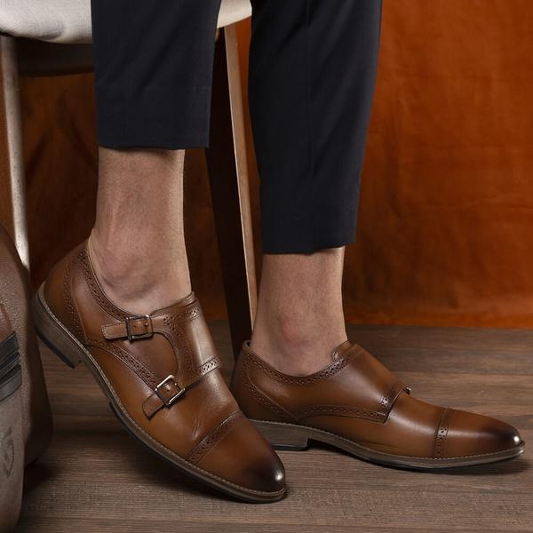 Sapato Masculino Monk Strap em Couro Havana Savelli