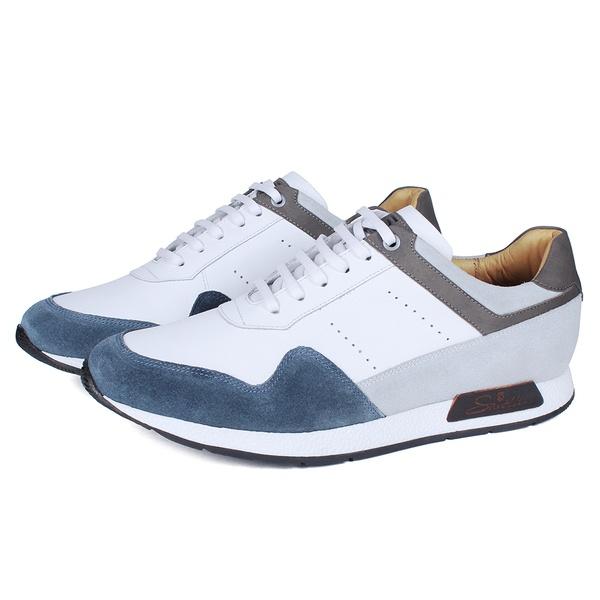 Sapato Casual Jogging Em Couro Branco/Petróleo Savelli