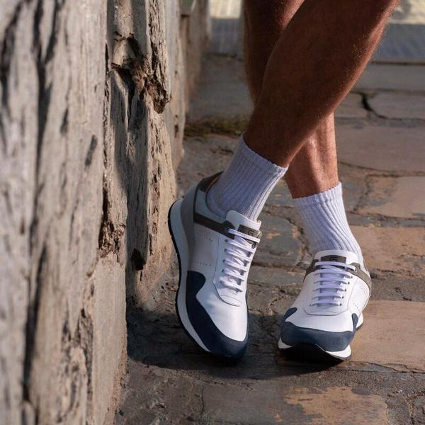 Tênis Casual Jogging Em Couro Branco/Petróleo Savelli