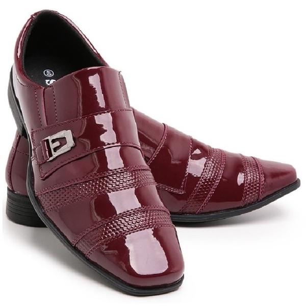 Sapato Social Masculino Moderno 803 Vermelho Em Verniz