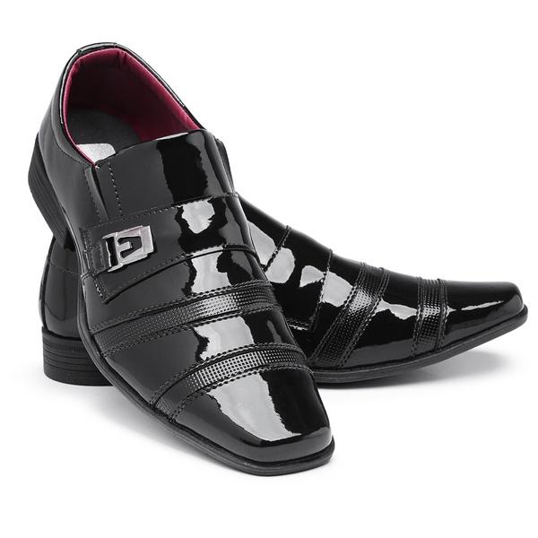 Sapato Social Masculino Moderno 803 Preto Em Verniz