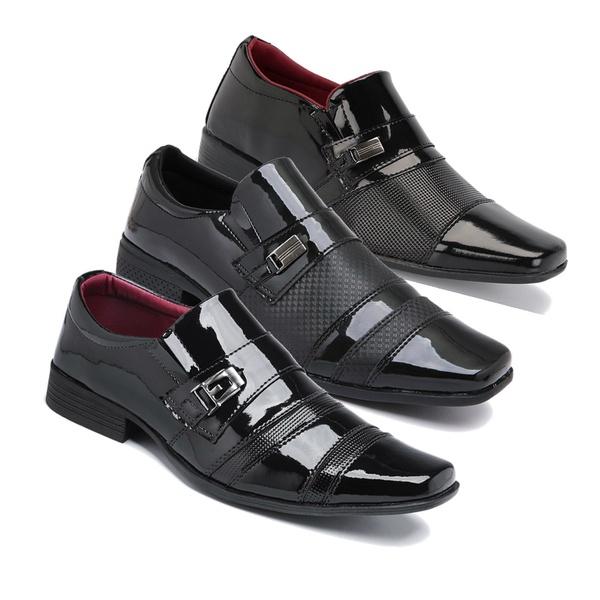 Kit 3 Pares Sapatos Sociais Masculino Em Verniz Schiareli K1