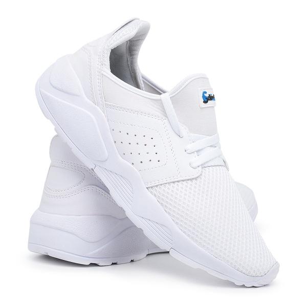Tênis Masculino Academia e Corrida Barato 540 Branco/Branco
