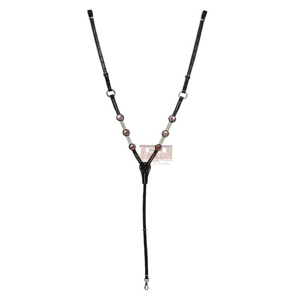Peitoral Mangalarga LB 6 Apliques Preto Com Linha Branca
