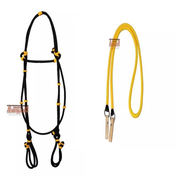 Kit Cabeçada De Corda Preta Com Amarelo + Rédea De Lã Trançada Amarela