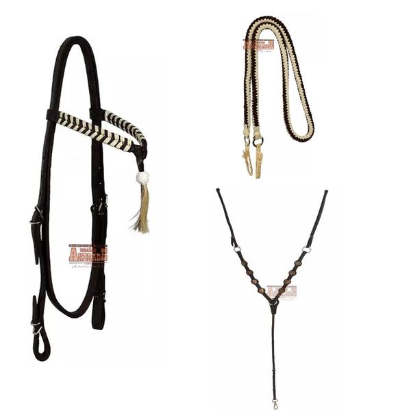 Kit Cabeçada RB 10 + Peitoral RM LUXO + Rédea De Lã Trançada – Cor Marrom