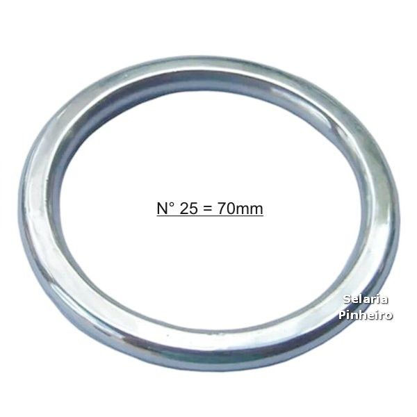 Argola Chata Inox Nº 25 = 70mm