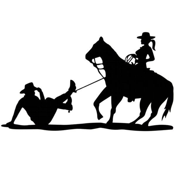 Adesivo Cowgirl Laçando Cowboy (Preto)