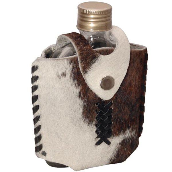 Porta Whisky Revestido em Couro Natural com Pêlos