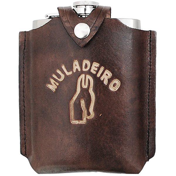 Porta Whisky Inox Revestido em Couro - Muladeiro