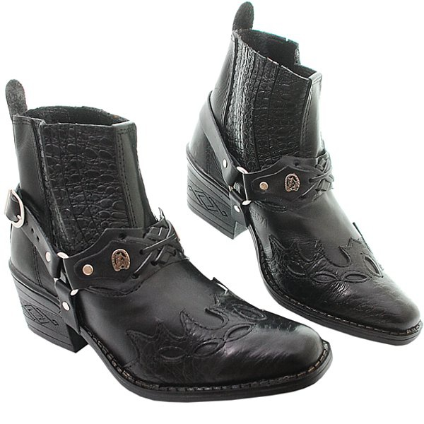 Bota Country Preto Croco