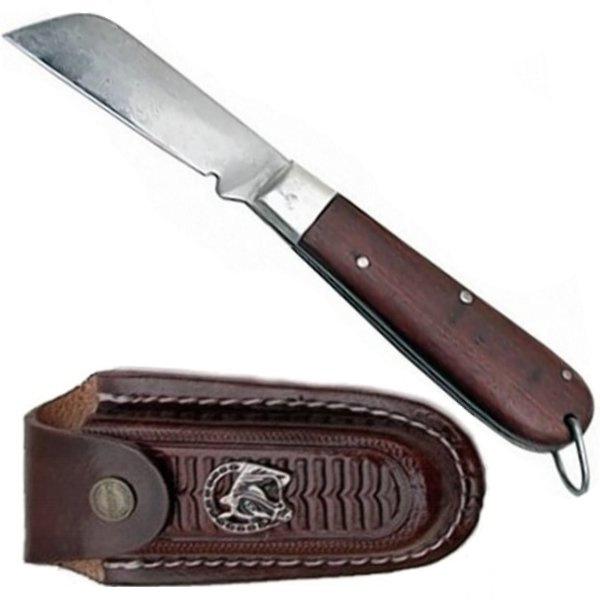 """Canivete Sol Original Cabo de Madeira 7"""" com Bainha em Couro"""