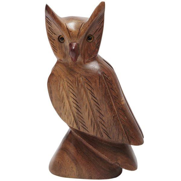 Escultura Miniatura de Coruja em Madeira Maciça