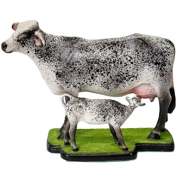 Escultura Miniatura de Vaca e Bezerro Girolando
