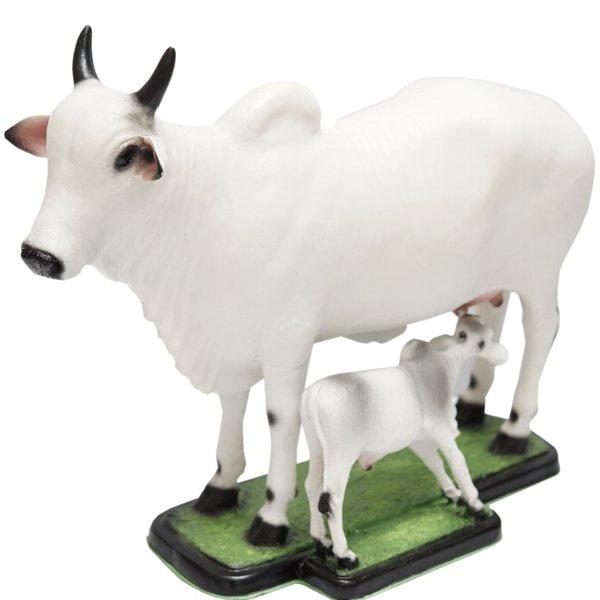 Escultura Miniatura de Vaca e Bezerro Nelore