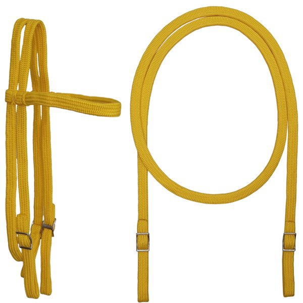 Conjunto Cabeçada e Rédea em Corda Extra Macio (Amarelo)