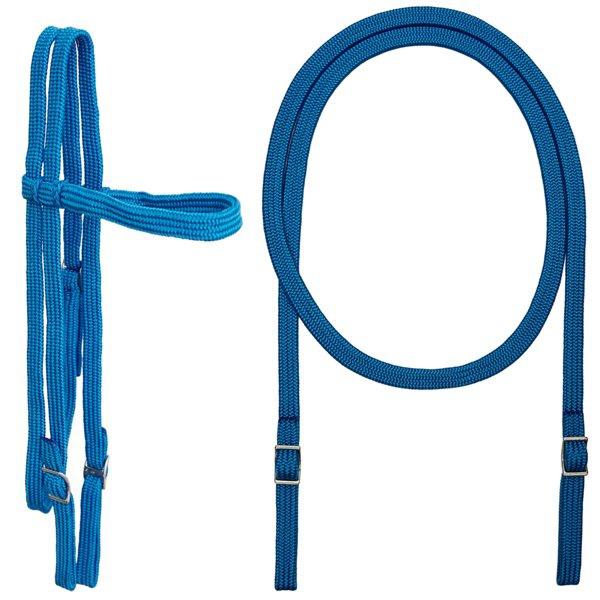 Conjunto Cabeçada e Rédea em Corda Extra Macio (Azul)