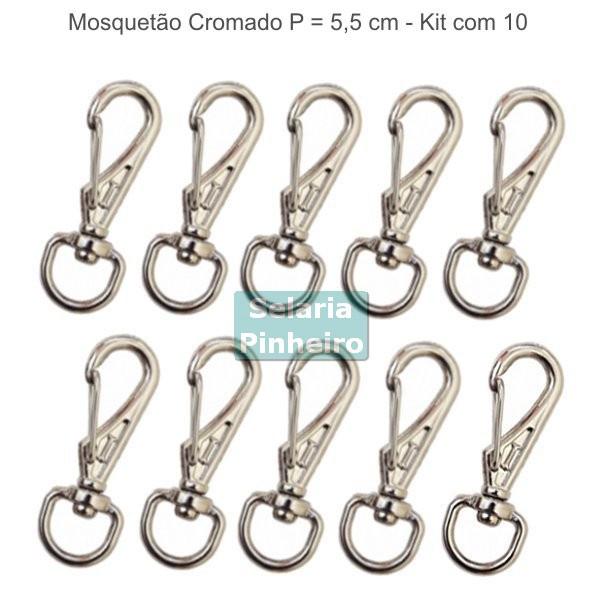 kit 10 Mosquetões Cromados P (5,5 cm)