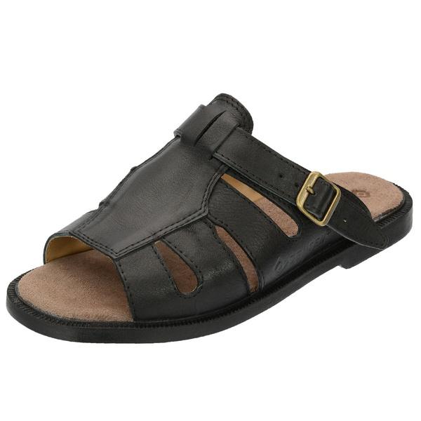 Sandália de Couro Preta Linha Conforto - Selten