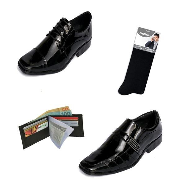 Kit 2 Sapatos Sociais Selten + Carteira e Meia de Brinde