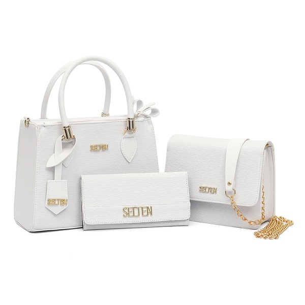 Bolsa Feminina Alça De Corrente + Bolsa Tote + Carteira Selten Branca