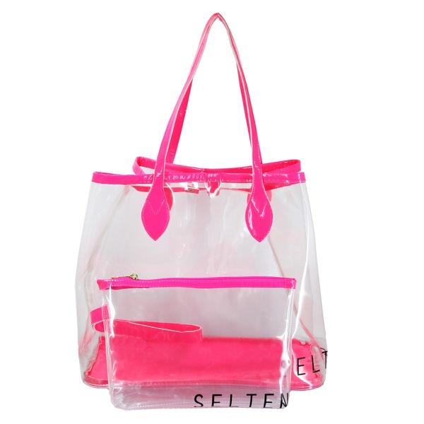 Bolsa Selten Transparente com Neon e Necessaire Rosa