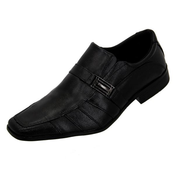 Sapato Social Selten Masculino Preto com fivela lateral