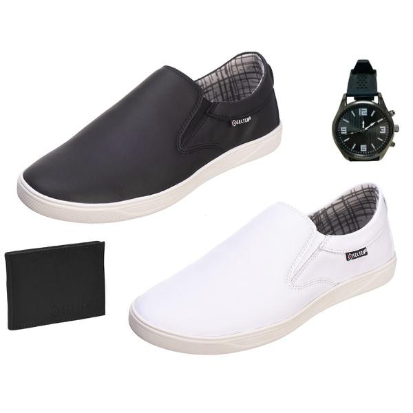 Slip On Masculino Casual kit com 2 Pares Preto e Branco com Carteira e Relógio - Selten