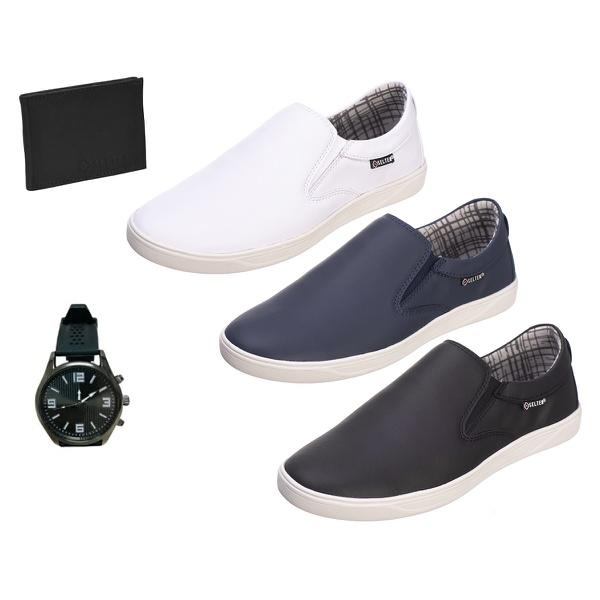 Slip On Masculino Casual kit com 3 Pares Preto e Branco e Azul com Carteira e Relógio - Selten