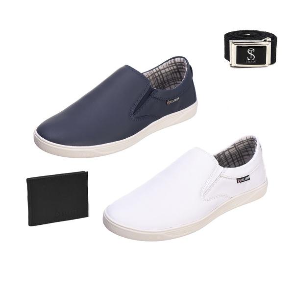 Slip On Masculino Casual kit com 2 Pares Branco e Azul com Carteira e Cinto - Selten