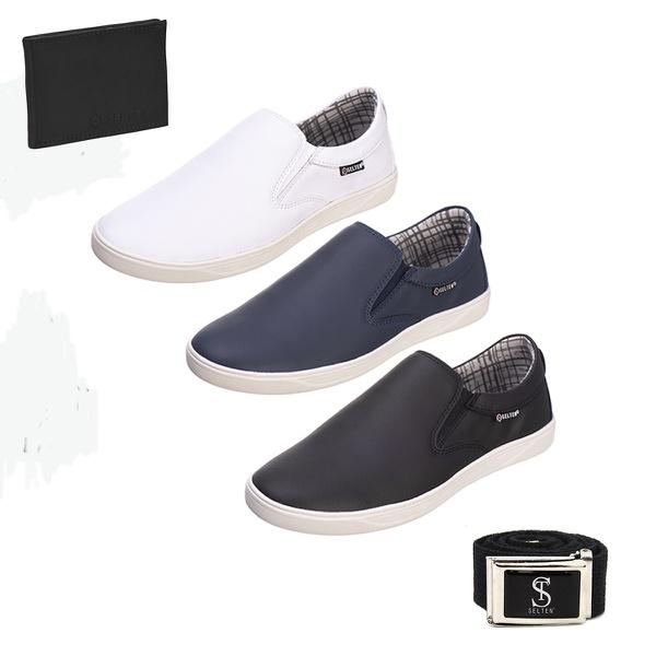 Slip On Masculino Casual kit com 3 Pares Preto e Branco e Azul com Carteira e Cinto - Selten Copia