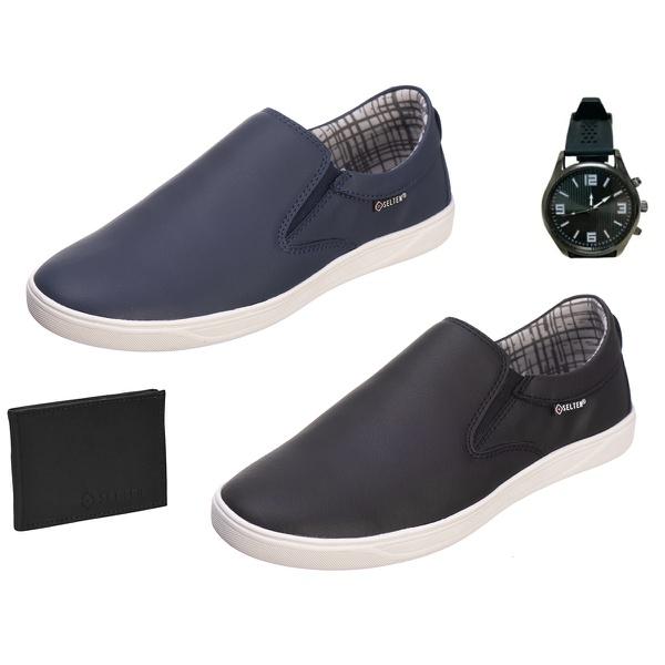 Slip On Masculino Casual kit com 2 Pares Preto e Azul com Carteira e Relógio - Selten