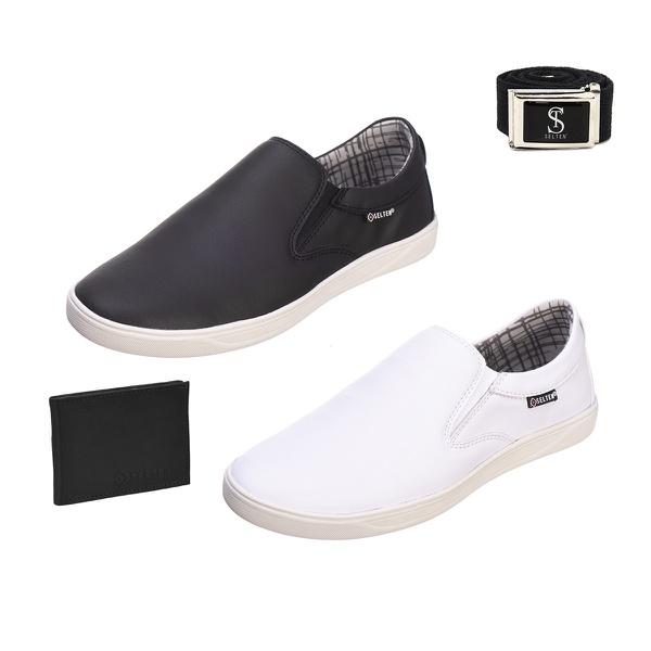 Slip On Masculino Casual kit com 2 Pares Preto e Branco com Carteira e Cinto - Selten