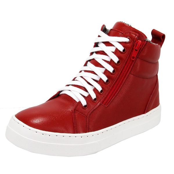 Bota Treino Academia Sneaker Fitness Vermelha em Couro Legítimo - Selten