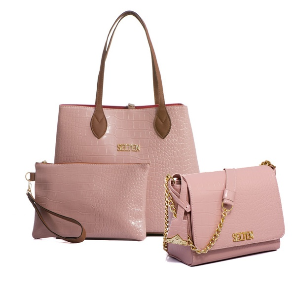 Bolsa Feminina Kit Com 3 Bolsas Grande Pequena E Necessaire Salmão