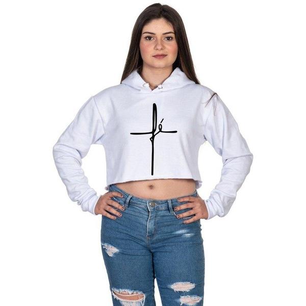 Cropped Moletom Feminino Fé Branco - Selten