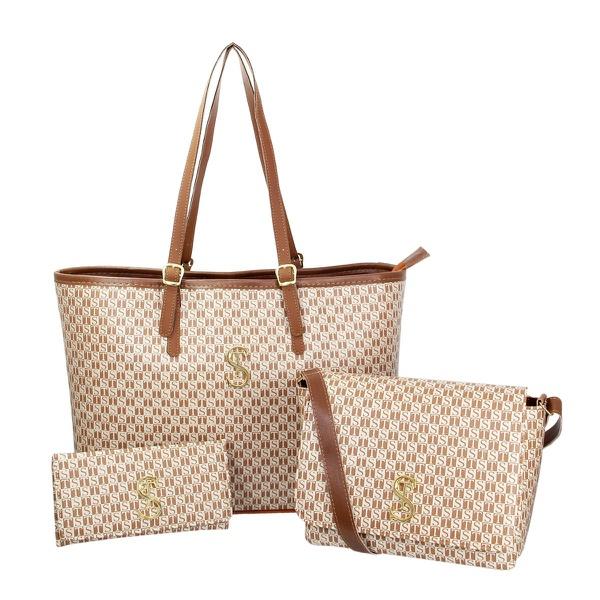 Kit de Bolsa Feminina com 2 Bolsas e Carteira Creme Dubai - Selten