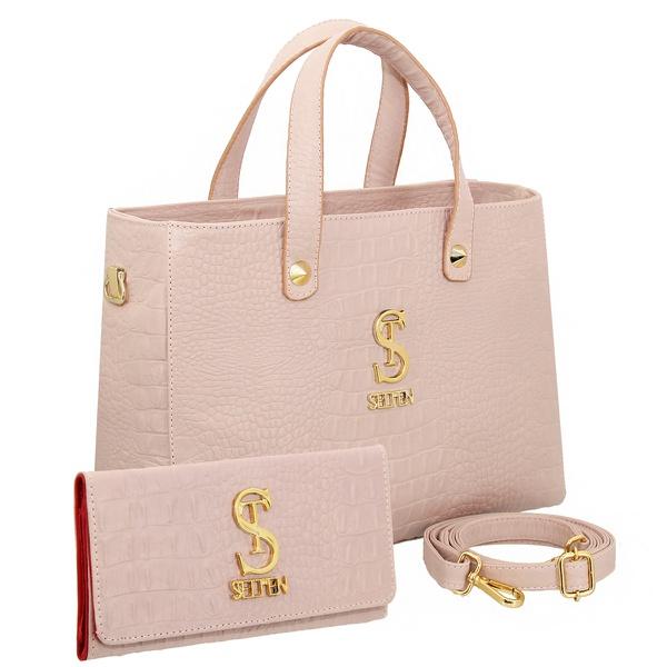 Bolsa Feminina Com Carteira Croco Lateral E Transversal De Couro Rose