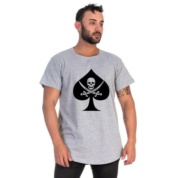 Camiseta Masculina Long Line Caveira Cinza -Selten