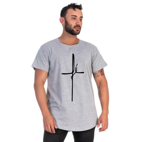 Camiseta Masculina Long Line Fé Cinza -Selten