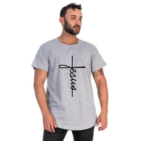 Camiseta Masculina Long Line Jesus Cinza -Selten