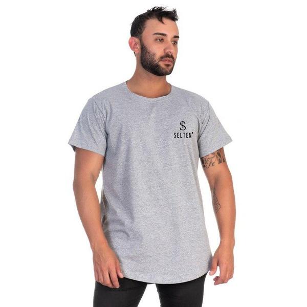 Camiseta Masculina Long Line Cinza Original Selten -Selten