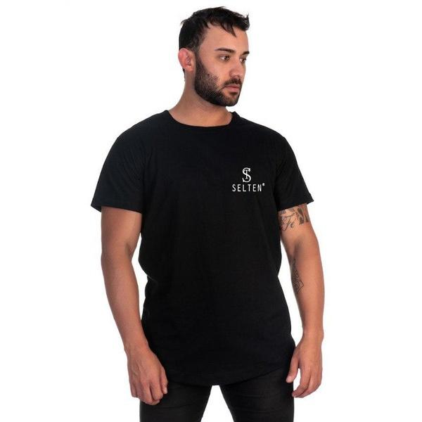 Camiseta Masculina Long Line Preta Original Selten -Selten