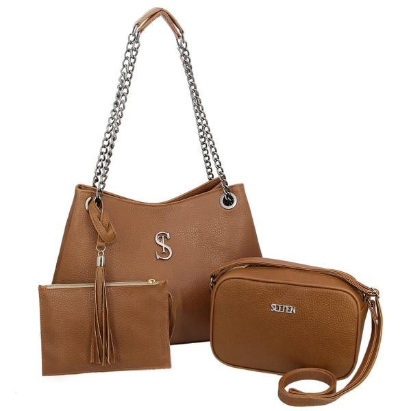 Kit de Bolsa Feminina Com 2 Bolsas e Necessaire Marrom - Selten