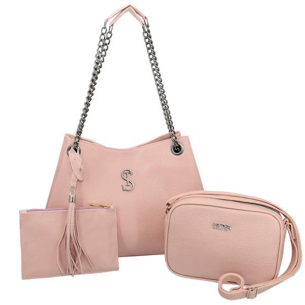 Kit de Bolsa Feminina Com 2 Bolsas e Necessaire Rosa - Selten