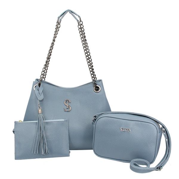 Kit de Bolsa Feminina Com 2 bolsas e Necessaire Azul Claro - Selten