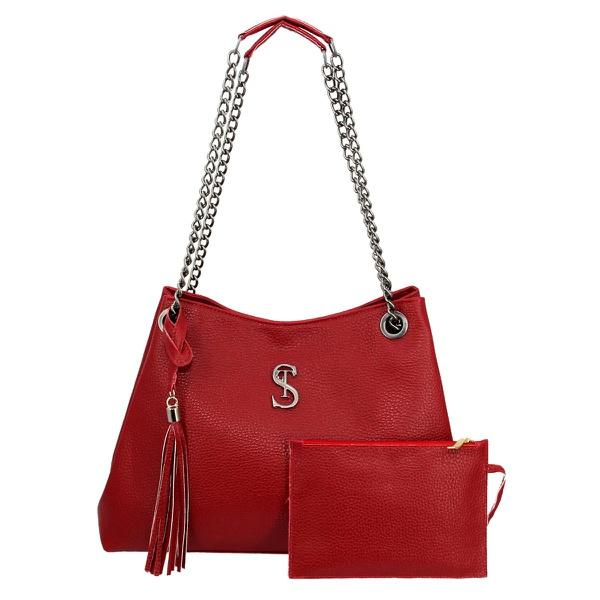 Bolsa Lateral Feminina com Alça de Corrente e Necessaire Vermelha Milão - Selten