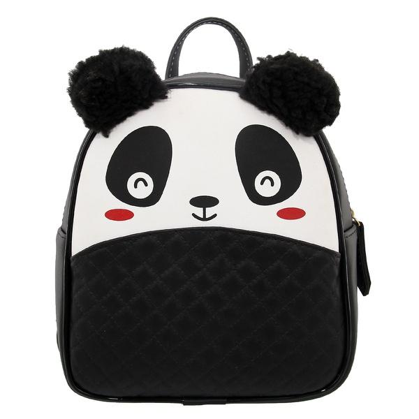 Mochila Escolar Infantil Preta Panda com Orelhinhas - Selten