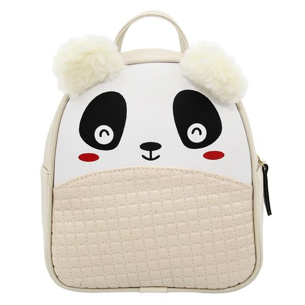 Mochila Escolar Infantil Bege Panda com Orelhinhas - Selten
